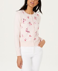 Charter Club Petite Floral-Embroidered Cardigan, Created for Macy's
