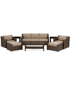 Camden Outdoor Aluminum 8-Pc. Seating Set (1 Sofa, 1 Chair, 1 Swivel Chair, 1 Coffee Table, 2 Ottomans & 2 End Tables), Created for Macy's