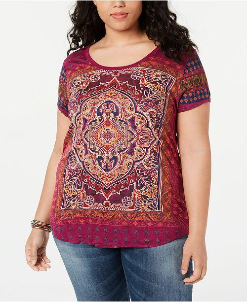 964d691a3201e ... Lucky Brand Trendy Plus Size Persian Carpet Graphic T-Shirt ...