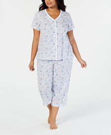 Charter Club Plus-Size Printed Cotton Top and Cropped Pajama Pants Set, Created for Macy's