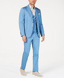 Orange Men's Slim-Fit Light Blue Denim Vested Suit