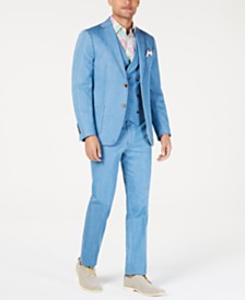 Tallia Orange Men's Slim-Fit Light Blue Denim Vested Suit