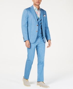 1960s Mens Suits | 70s Mens Disco Suits Tallia Orange Mens Slim-Fit Light Blue Denim Vested Suit $119.99 AT vintagedancer.com