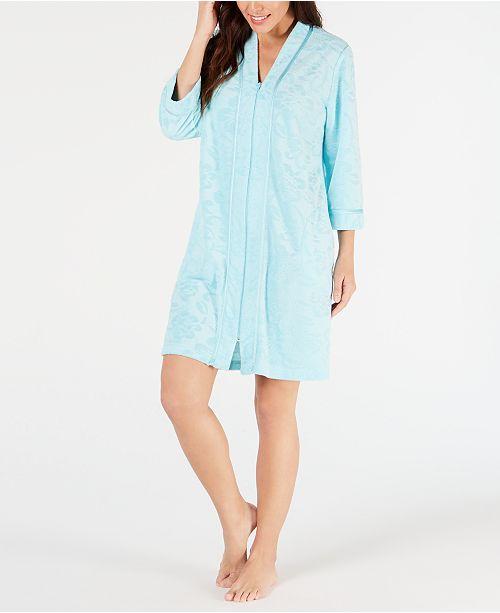 Miss Elaine Flower-Embossed Micro Terry Short Zip-Up Robe