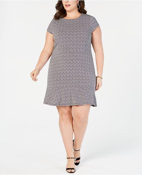 Tailles Size BlancNoir imprimeeCommentaires Robes Plus a volants Michael Kors Robe kXw8OPn0