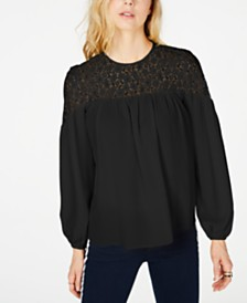 MICHAEL Michael Kors Lace-Yoke Top