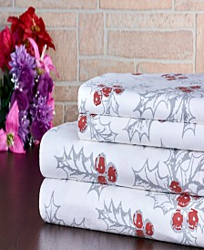 Bibb Home 100% Cotton Flannel Printed Twin Sheet Set