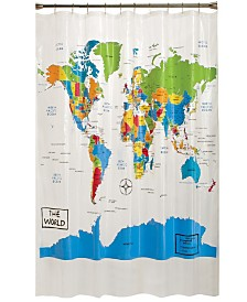 Saturday Knight Ltd. World Map Shower Curtain