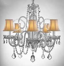 Empress Crystal 5-Light Chandelier with White Shades