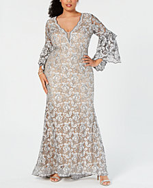 Betsy & Adam Plus Size Embellished Lace Gown