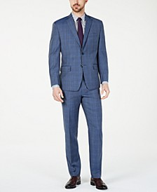 Men's Classic-Fit Airsoft Stretch Light Blue Plaid/Windowpane Suit Separates