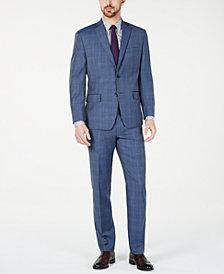 Michael Kors Men's Classic-Fit Airsoft Stretch Light Blue Plaid/Windowpane Suit Separates