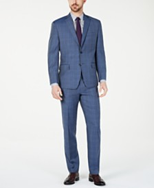 Michael Kors Men's Classic-Fit Airsoft Stretch Light Blue Plaid/Windowpane Suit Separates