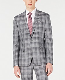 Men's Slim-Fit Linen Gray Plaid Suit Jacket, Created for Macy's