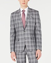 b75ef592c Bar III Men's Slim-Fit Linen Gray Plaid Suit Jacket, Created for Macy's