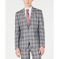 Bar III Men's Slim-Fit Linen Gray Plaid Suit Jacket