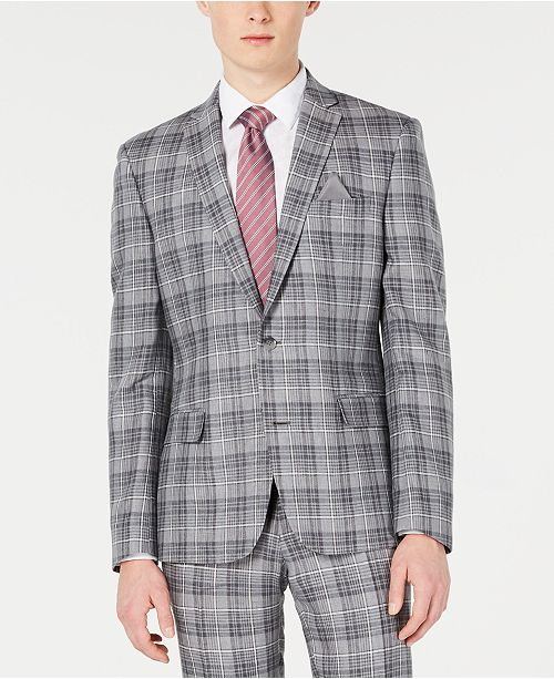 Bar III Men's Slim-Fit Linen Gray Plaid Suit Jacket, Created for Macy's
