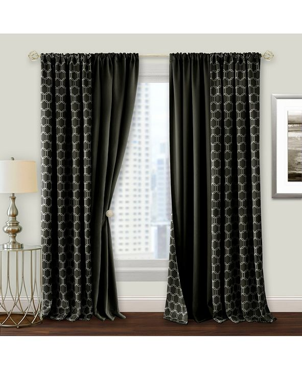 Achim Prelude Reversible Blackout Rod Pocket Curtain Panel, 50x63