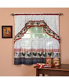 Rooster Printed Tier and Swag Window Curtain Set, 57x36