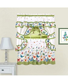 Butterflies Printed Cottage Window Curtain Set, 57x24