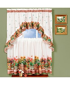 Country Garden Printed Tier and Swag Window Curtain Set, 57x24