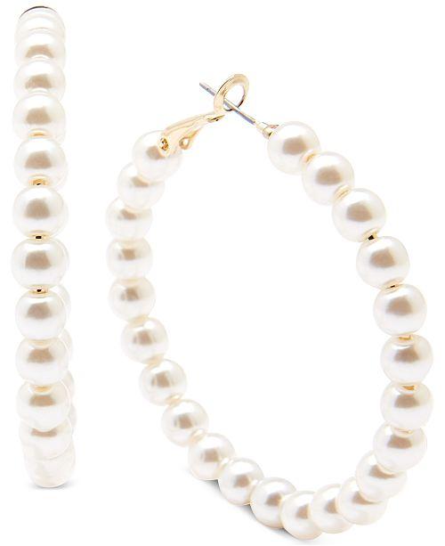 """Zenzii Medium Gold-Tone Pearl Resin Beaded Medium Hoop Earrings  2"""""""