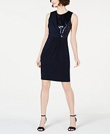 Sleeveless Sequin-Top Sheath Dress