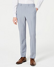 Men's Modern-Fit Light Blue Sharkskin Suit Pants