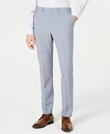 DKNY Men's Modern-Fit Light Blue Sharkskin Suit Pants