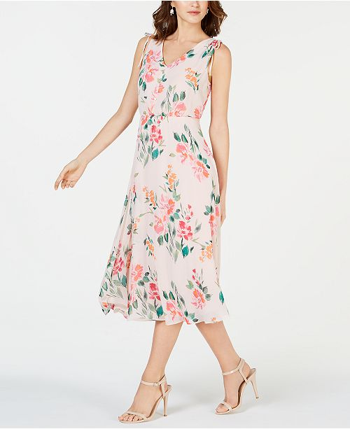 636a8cefcf39 Jessica Howard Petite Floral Chiffon Midi Dress & Reviews - Dresses ...