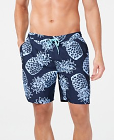 "Club Room Men's Quick-Dry Performance Pineapple-Print 7"" Swim Trunks, Created for Macy's"