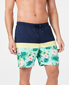 "Club Room Men's Quick-Dry Performance Colorblocked Floral-Print 7"" Swim Trunks, Created for Macy's"