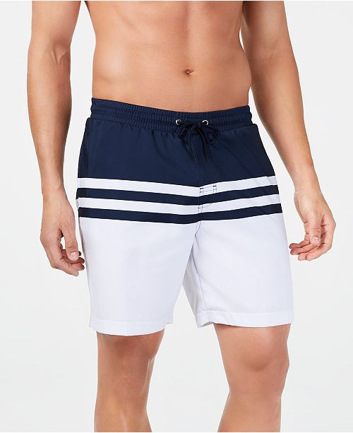 """Club Room Men's Quick-Dry Performance Colorblocked Stripe 7"""" Swim Trunks, Created for Macy's"""