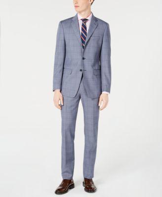 Men's X-Fit Slim-Fit Natural Stretch Blue Plaid Suit Jacket