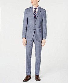 Men's X-Fit Slim-Fit Natural Stretch Blue Plaid Suit Separates