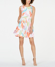 Taylor Sleeveless Palm-Frond Fit & Flare Dress