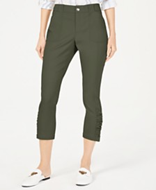 I.N.C. Petite Ruched-Hem Cropped Pants, Created for Macy's