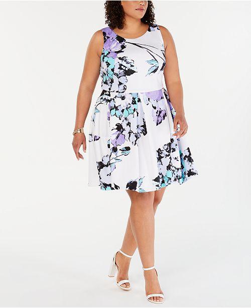 Taylor Plus Size Floral-Print Fit & Flare Dress & Reviews ...