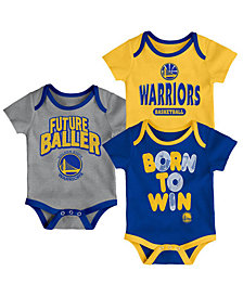 Outerstuff Golden State Warriors 3 Piece Bodysuit Set, Infants (0-9 Months)