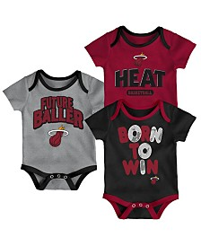 Outerstuff Miami Heat 3 Piece Bodysuit Set, Infants (0-9 Months)