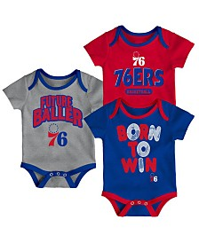 Outerstuff Philadelphia 76ers 3 Piece Bodysuit Set, Infants (0-9 Months)