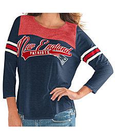 G-III Sports Women's New England Patriots Sleeve Stripe Raglan T-Shirt