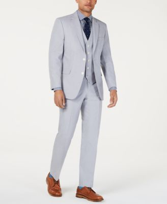 Men's Modern-Fit THFlex Stretch Light Gray Chambray Suit Pants