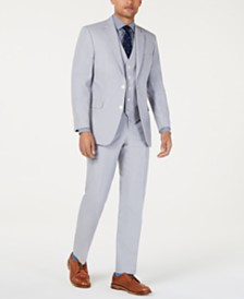 Tommy Hilfiger Men's Modern-Fit THFlex Stretch Light Gray Chambray Suit Separates