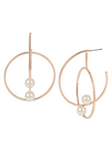 BCBGeneration Pearl Rose Gold Double Hoop Earrings