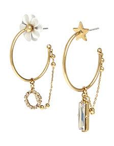 BCBGeneration Flower & Star Asymmetrical Hoop Earrings
