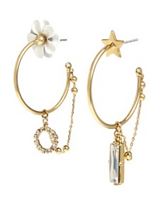 BCBGeneration Flower & Star Asymmetrical Hoop Earrings