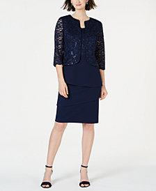 Alex Evenings Petite Sequined Lace Jacket & Shift Dress