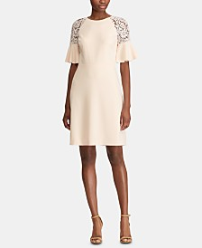 Lauren Ralph Lauren Lace-Trim Crepe Dress