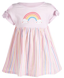 First Impressions Baby Girls Rainbow Striped Cotton Dress, Created for Macy's